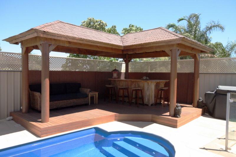 Perth bali huts balinese huts bali style cabanas for Pool hut designs