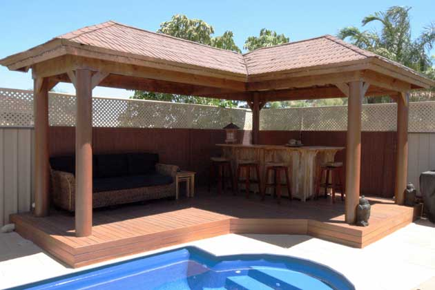 Wrap around timber gazebo