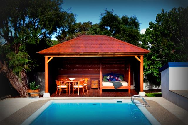 Luxury perth poolside cabana for Pool design with gazebo